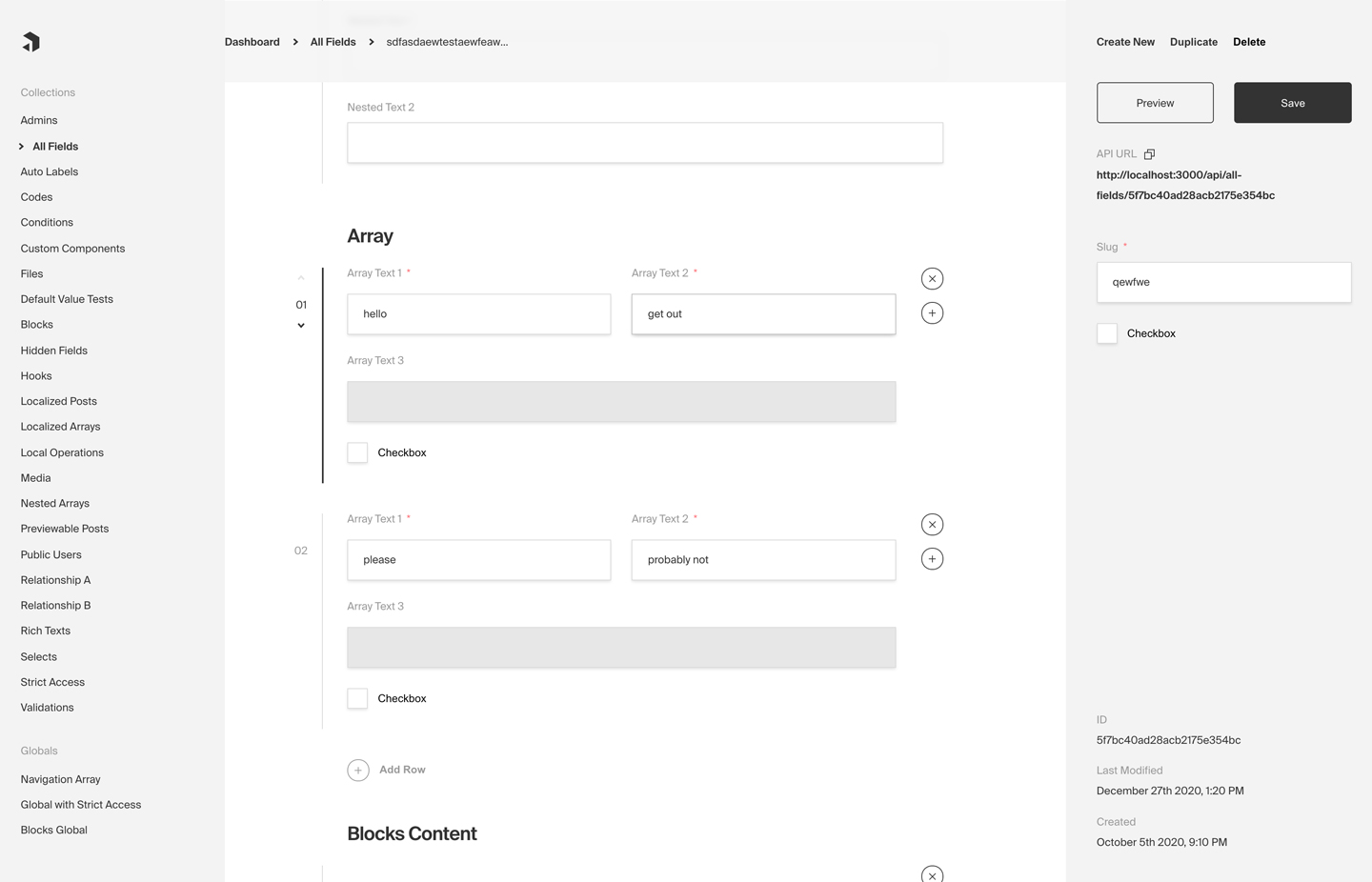 Payload's Admin panel built in React